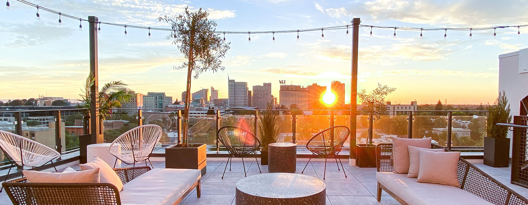 Rooftop deck with a view of downtown Sacramento